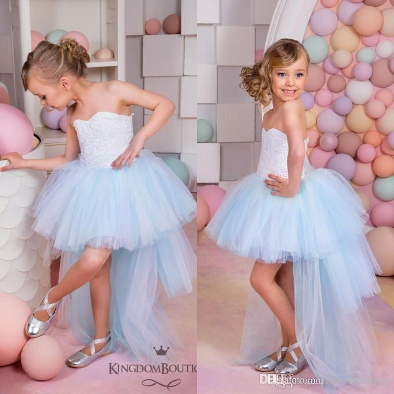 ec339ce2c6a Sweetheart Strapless High Low Tulle Lace Beautiful Cute Little Girl Formal Dresses  Flower Girl Dresses Wedding Dress For Girls Simple Flower Girl Dress From  ...