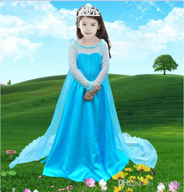 2018 Drop Shipping,New 2014 Frozen Elsa Dress Girl Princess Dress ...