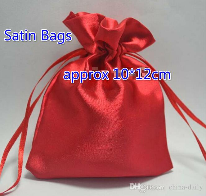 Gratis schip 200 stks NIEUW 10 * 12 cm 4 * 4.7 inch Mooie Satin Tas Candy Kralen Tassen Haar Gift Pakket Bruiloft Tas Pouch