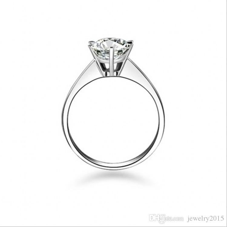 100% 925 Sterling Silver 1CT sona Simulated diamond Infinity anillos de bodas de plata para las mujeres, 14k oro blanco sólido plateado anillo de bodas