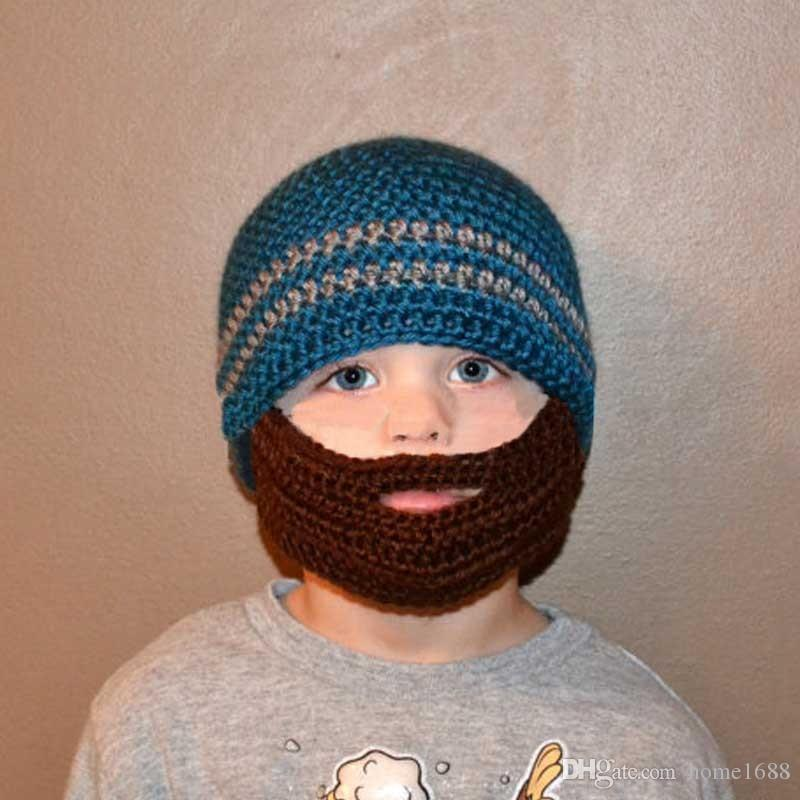 Winter Striped Knit Ski Face Mask Beanie For Kids Crochet Beard Hats