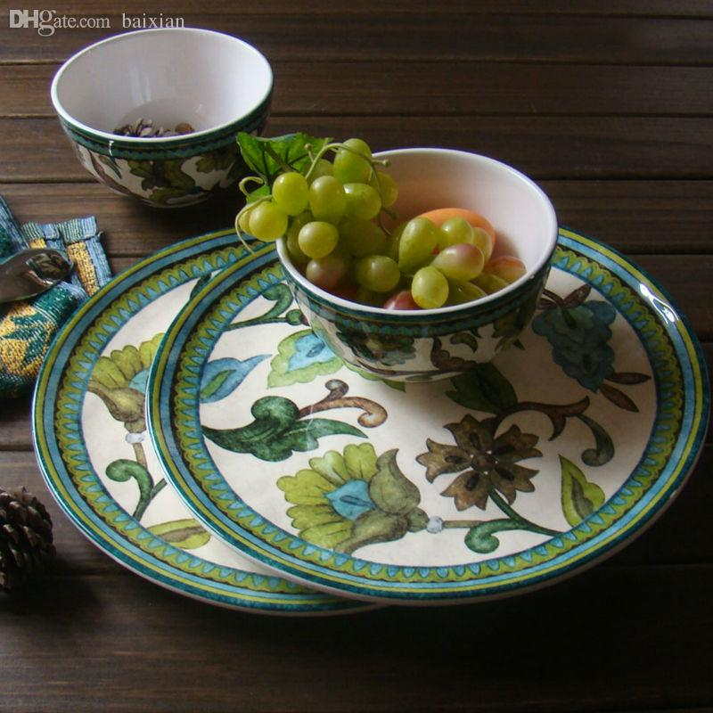 2018 Wholesale Western Style Ceramics Green Jungle Tableware Dinner Plates Porcelain Dishes Dinnerware Sets Plates For Restaurant Home From Patrici ... & 2018 Wholesale Western Style Ceramics Green Jungle Tableware Dinner ...
