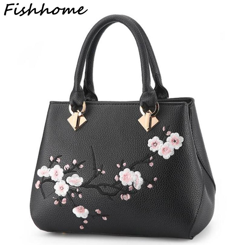 dc70462d6c Fishhome Flowers Embroidery Women Messenger Bag Cherry Blossoms Fashion  Simple Popular Handbags Lady Female Designer Leather Bags Shoulder Bags  From ...