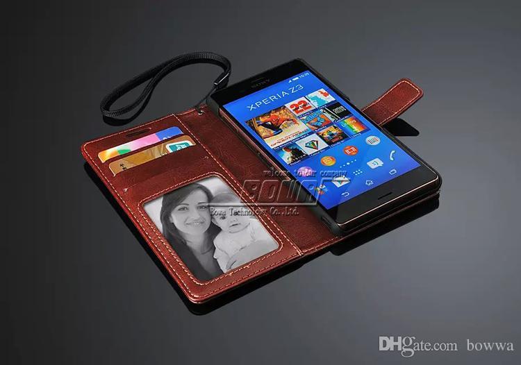 Sony Xperia Z3 Için 20 adet Cüzdan Telefon Çanta Standı 3 Kart Sahipleri ve Fotoğraf Çerçevesi Ile Vintage PU Deri Kılıf