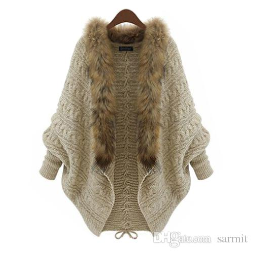 0fe2db6282 NEW CHEAP WOMEN MOHAIR BATWING KNITTED SWEATER FAUX FUR COLLAR WOMAN ...