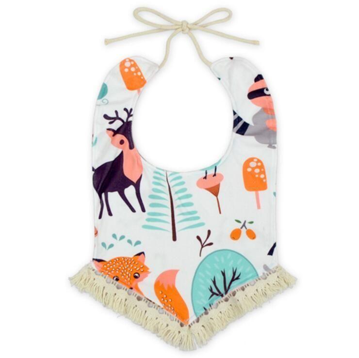 Baby Bandana Bibs INS Burp Cloths Newborn Tassel Saliva Towels Infant Cotton Bibs Scarf Children Cartoon Fox Dot Drool Bib Burp Turban