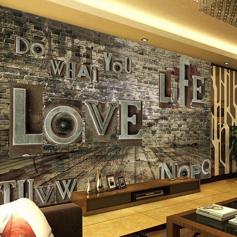 compre stereo personalizada mural europea 3d ladrillo retro de papel para pared del alfabeto alivio personalidad bar restaurante antecedentes murales de - Papel Para La Pared