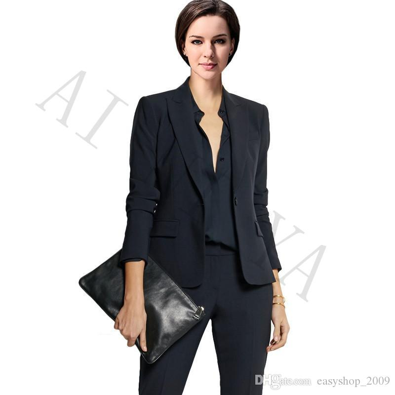 2019 Jacket Pants Women Business Suits Black Double Breasted Female