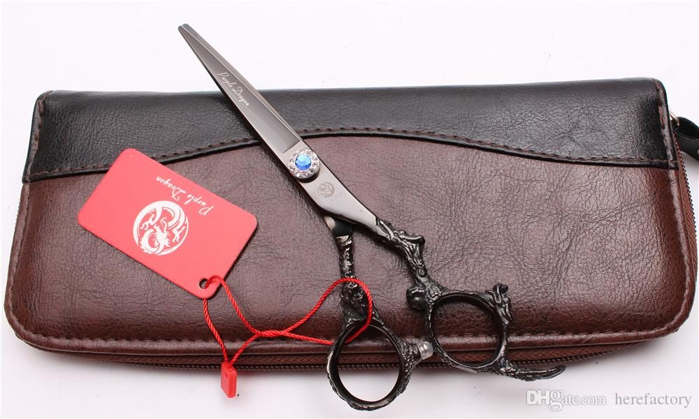 """Z9005 6"""" JP 440C Purple Dragon Hot Sell Professional Human Hair Scissors Barbers' Hairdressing Scissors Cutting Thinning Shears Style Tools"""