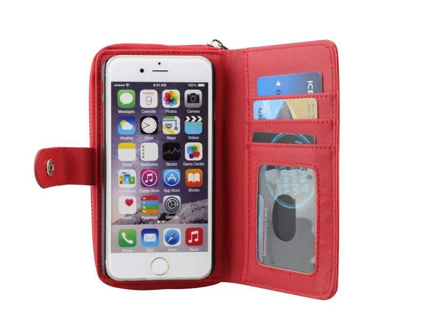 Multifuntion Zipper Hybride Litchi En Cuir Sac Portefeuille Pochette Bourse Sacoche Dur Cas Pour Iphone 6 4.7 '' 5 5S 5G carte d'identité de crédit Photo Frame Couverture De Peau