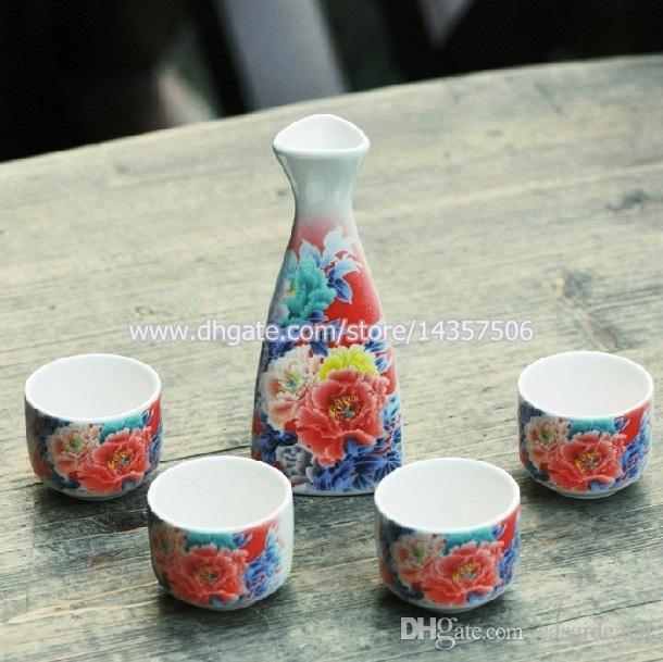 Elegant Sake Japonais Ensemble 5 Pcs Bouteille De Vin En Porcelaine Tasses Coffrets Cadeaux Peinture Traditionnelle Chinoise Peony Design Faveurs De