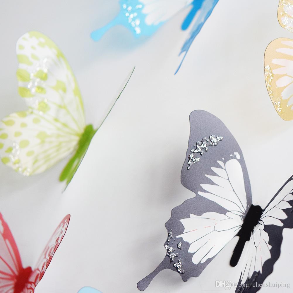 18 unidades / lote PVC mariposa etiqueta de la pared 3D para niños sala de estar decoración colores mezclados envío gratis