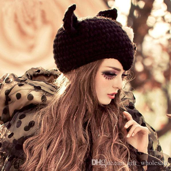 2 Styles Cat Ears Cute Hats for women brand knitting warm 2016 korean fashion hot selling lovely Beanies Winter knitted Cap