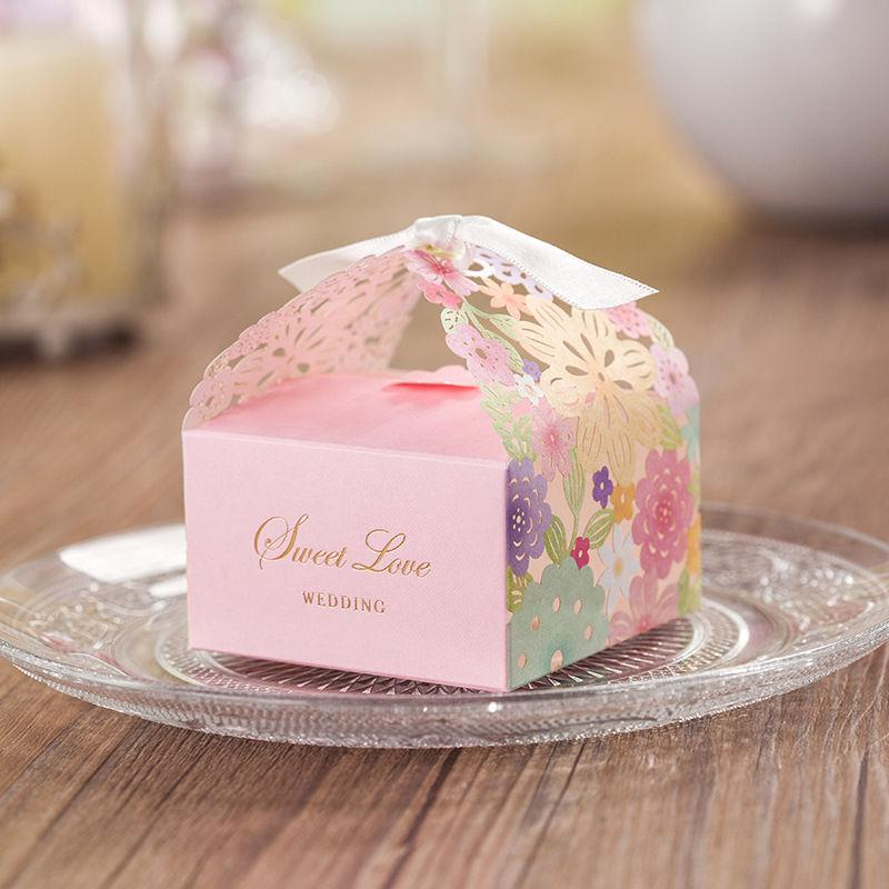 Pink Flower Laser Cut Candy Box Decoration Gift Boxes New Wedding
