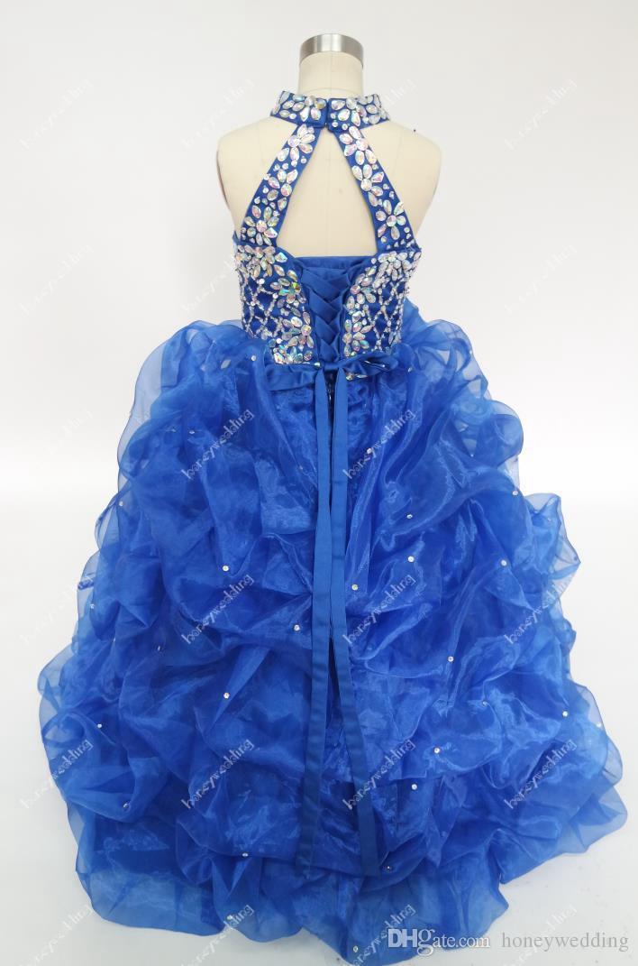 Vestidos de meninas de flor azul royal do vintage para casamentos com strass frisada pescoço alto babados adolescentes pageant vestidos de baile em estoque barato