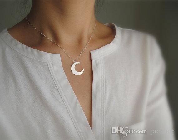 - N070 Gold Silver Simple Crescent Moon Necklace Cute Half Moon Necklace Galaxy Moon Necklaces Jewelry for Ladies Girl