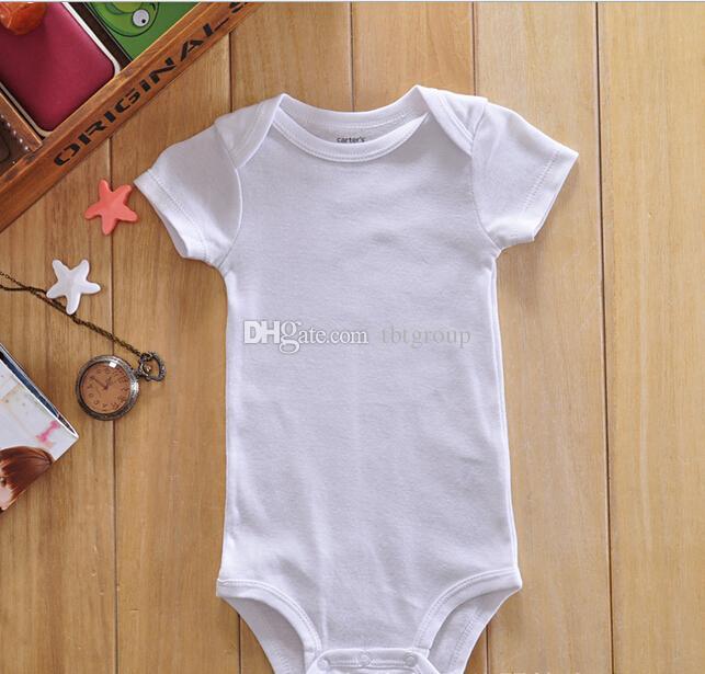 Baby Strampler Anzug Sommer Infant Dreieck Strampler Onesies 100% Baumwolle Kurzärmelige Babys Kleidung Jungen Mädchen Pure White Full Größen auf Lager