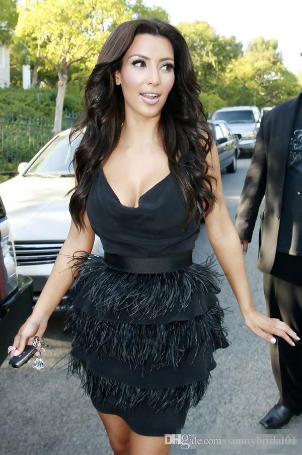 Nova kim kardashian pena de avestruz preto coquetel vestidos na altura do joelho 2017 mulheres sexy formal do baile de finalistas à noite usa vestido de noite
