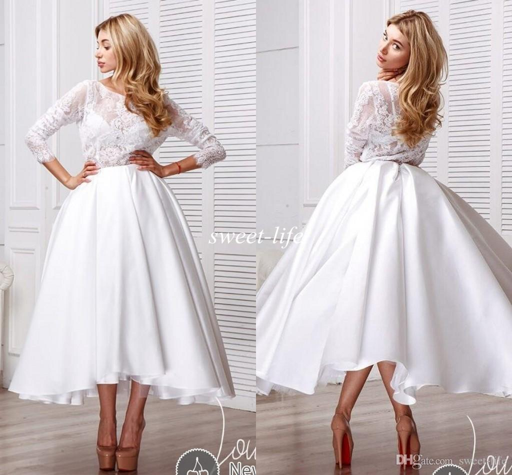 Discount Modest Tea Length Wedding Dresses With Long Sleeves Vintage Lace Illusion Crew Neck A Line Satin 2016 Spring Boho Beach Bridal Gowns Short: Vintage Tea Length Modest Wedding Dresses At Websimilar.org