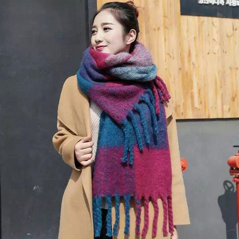 978115dd402 super thick scarf plaid scarves luxury designer scarf Tassels Thickened  scarves winter warm neck wrap couple neck wear Pashmina