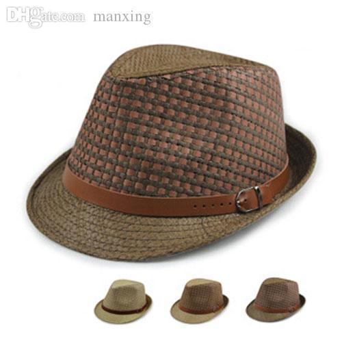 9dca673cbb3e0 Wholesale-Wholesale Designer Men Plaid Paper Fedora Hat Style Women ...