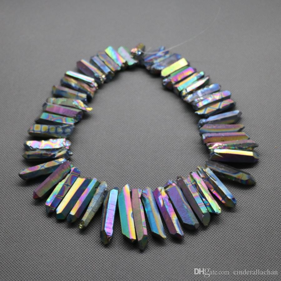 /1Strand Titanium Rainbow Crystal Quartz Rock Crystal, Natural Raw Freeform Spikes Points Drilled Briolettes, 15.5 Inch Women Necklace
