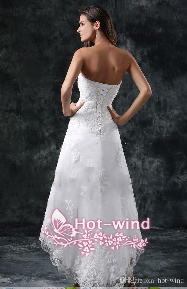2018 vestidos de novia apliques sin tirantes sexy encaje alto bajo pequeño blanco marfil con cordones espalda verano playa vestidos de novia cortos cps110