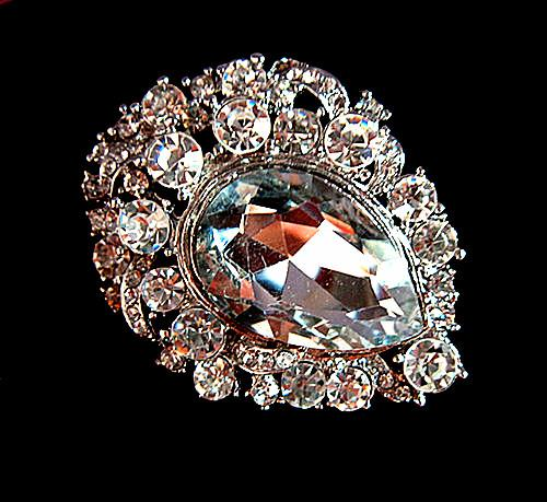 Wholesale Vintage Silver Plated Clear Rhinestone Crystal Heart Design Large Bridal Brooches For Wedding Bouquet Pins