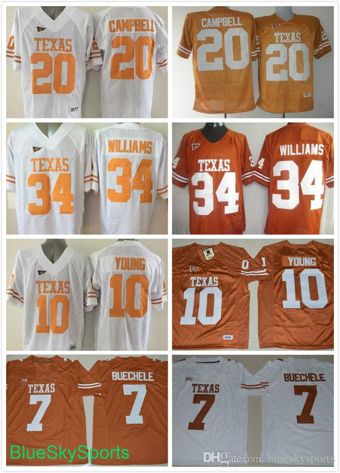 best website bac34 bd7b6 Men s Texas Longhorns #7 Shane Buechele #10 Vince Young #20 Earl Campbell  Jersey #34 Ricky Williams College Jerseys Stitched M-3XL