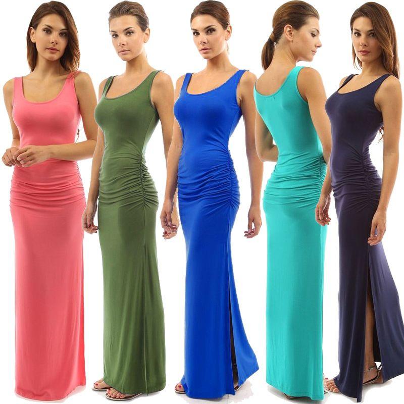 Wholesale Women Solid Color Round Neck Slim Sleeveless Long Dress Summer Beach Wear Fashion Open Split Dress Sheath Dress