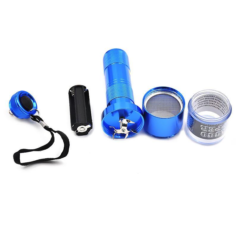 1 X molinillo eléctrico de la hierba del metal de aluminio molinillo de la trituradora de la especia del tabaco de la galleta azul / negro / color plateado
