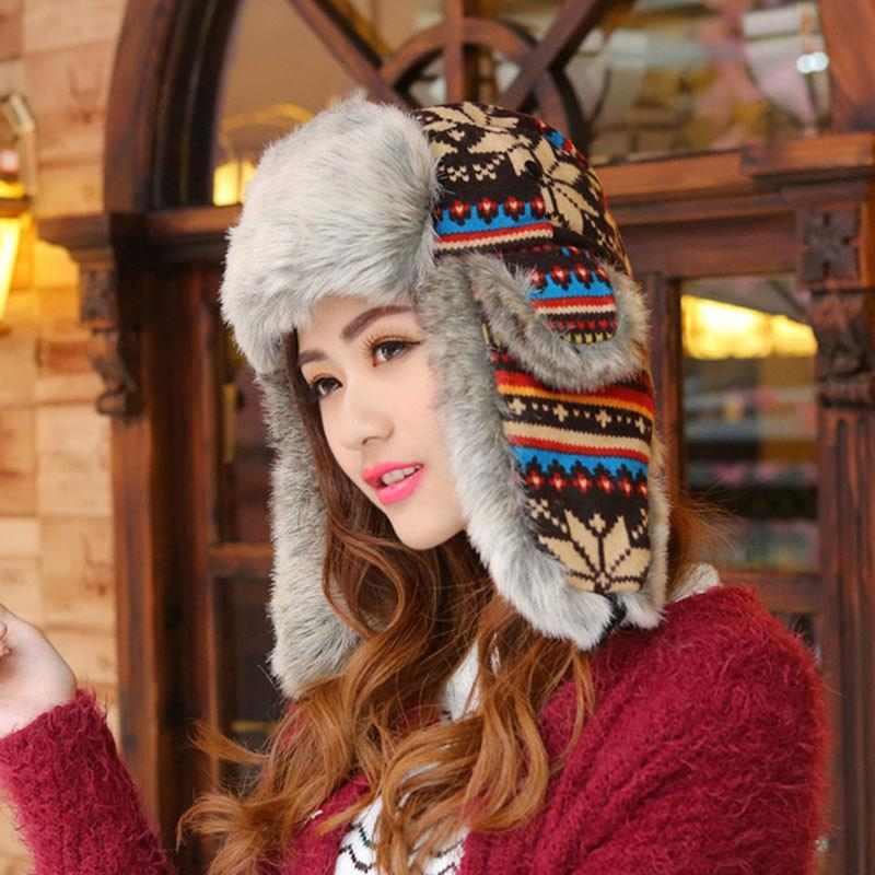 Wholesale- Woman Russian Women Winter Hats Keep Warm Knitting Hat ... 6cdde6bbb67