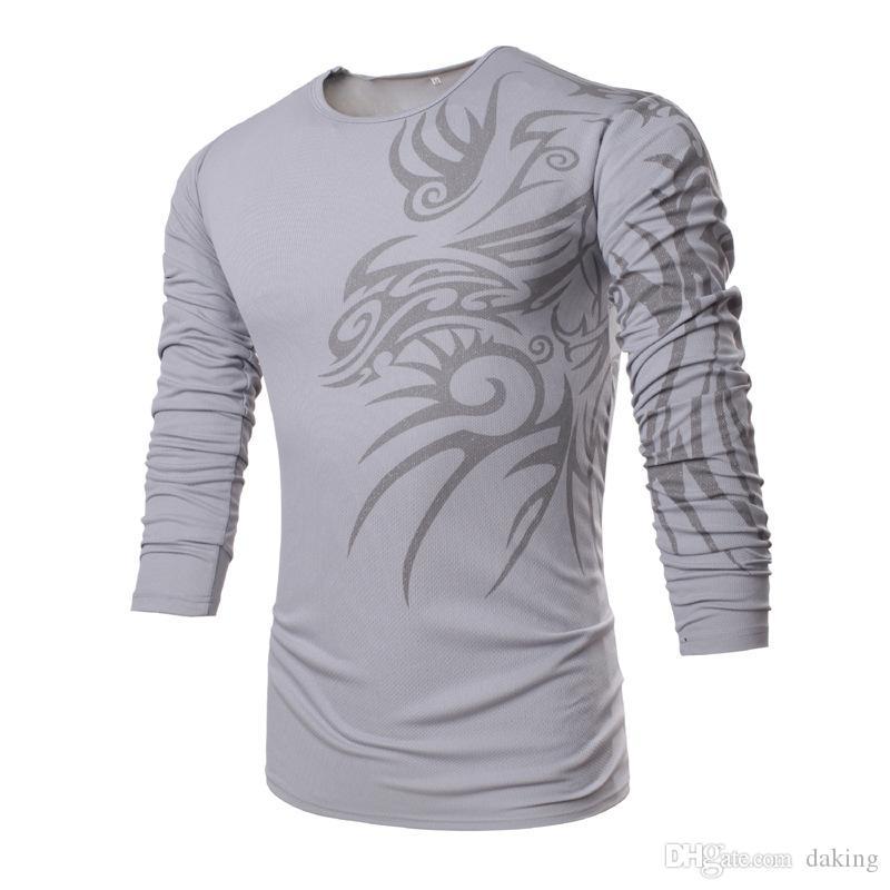 Printemps de l'UE des États-Unis Chine Style de marque Dragon Tattoo impression coton manches longues hommes Quick Dry TShirt Mafia Guerriers ras du cou Casual T-shirts Polos