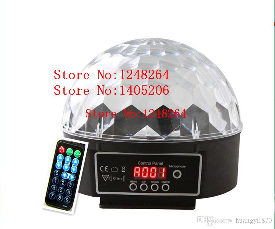 AC 110V- 220V DMX 512 Control Pannel Control remoto 18W LED Etapa Luz RGB 6 tipos de color Cristal Magic Ball Efecto lámpara Disco DJ Paty