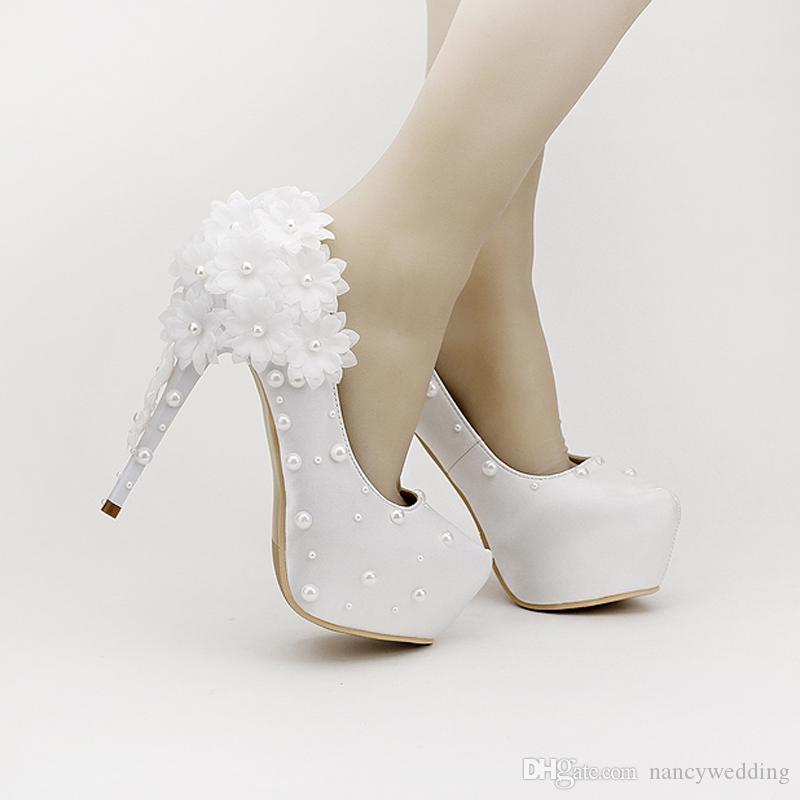 Beautiful White Satin Flowers Bridal Shoes Super Stiletto High Heel Platform Wedding Shoes Comfortable Material Dancing Shoes