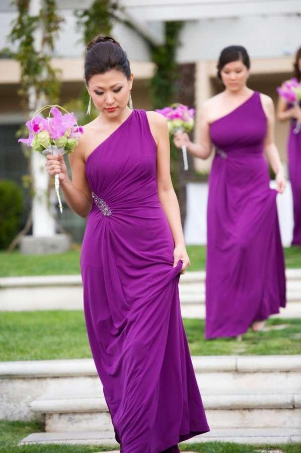Одно плечо фиолетовые шифон невесты платья 2019 блестки с блестками с бисером длинные младшие подружки невесты формальный случай сиреневый свадебное вечеринка платье