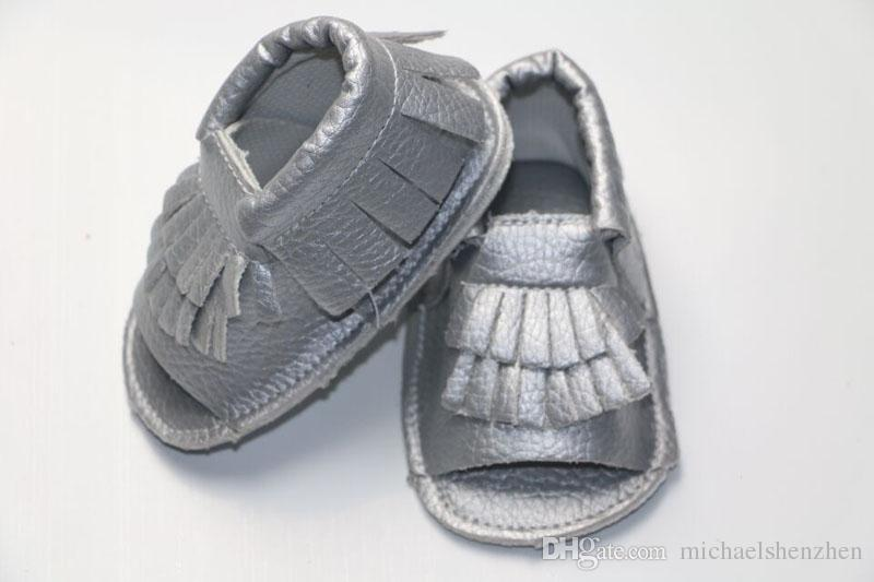 New cow leather Infant open toe mocassions sandals baby tassels boot booties infant suded leather 2layer fringe shoes B001