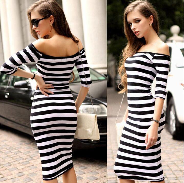 Moda omuz kollu paket kalça rahat elbise Seksi rakam şerit Bodycon elbise Kadınlar için Üç renk S-XL boyutu rahat elbiseler