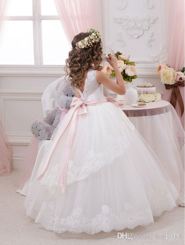 Cheap Lace Ball Gown Little Bridal Flower Girls Dresses For Wedding Party Princess Ruffle Bow Floor Length Tulle Kids Girls Pageant Dresses