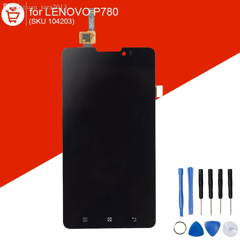 Wholesale-LCD For Lenovo P780 Display with Touch Screen Digitizer Black 5 inch ORIGINAL Parts with 9 in 1 Opening Repair Tools Set 104203