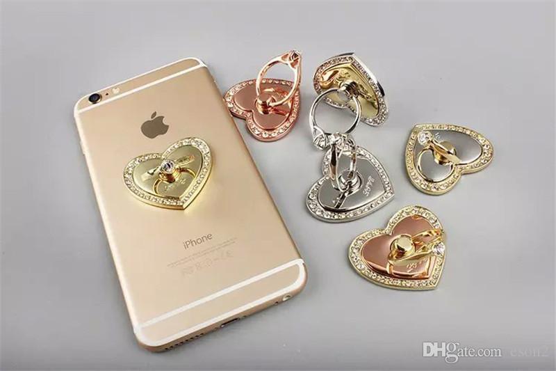 em forma de coração 360 Degree Dedo Titular anel de diamante do metal Suporte Mobile Phone Bracket Suporte para Samsung S8 Nota 8
