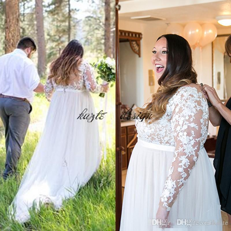 Discount 2018 Plus Size Beach Wedding Dresses Sheer Tulle Bateau