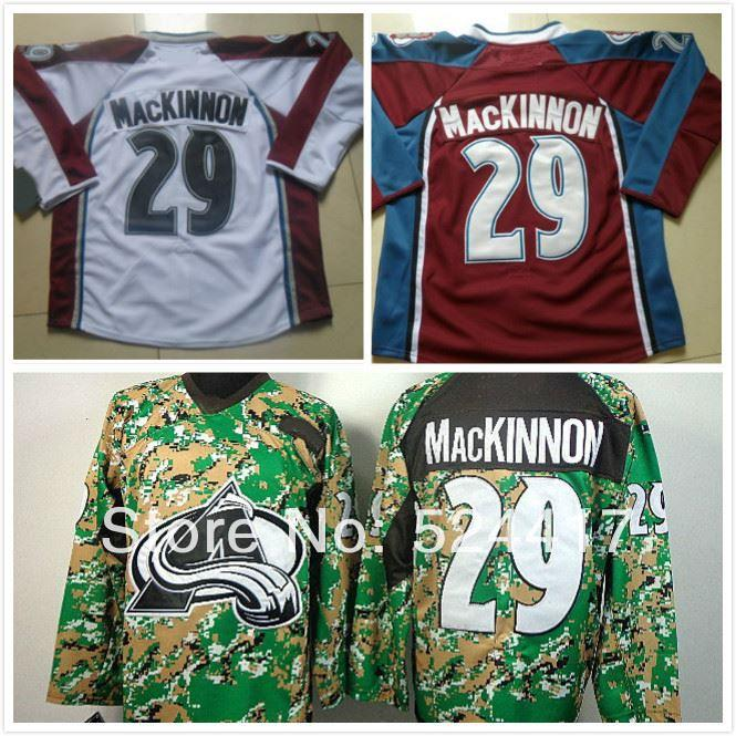 661b2831c Stitched Men S Colorado Avalanche  29 Nathan MacKinnon White Red Green Camo  Ice Hockey Jersey Shirt From Espn sport