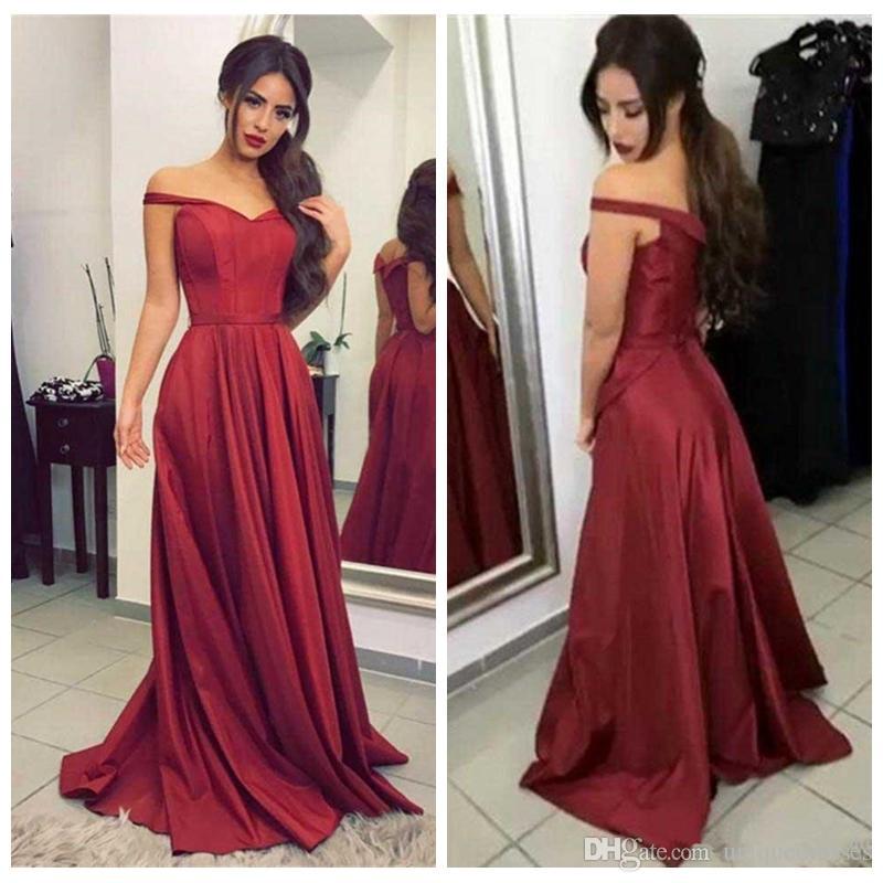 806792ecd Barato Borgonha Vermelho Fora Do Ombro Vestidos de Baile Longo A Linha Trem  Da Varredura Formal Longo Vestido de Festa Mulheres Vestidos de Noite