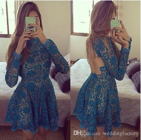 Sexy Cheap Short Lace Cocktail Dresses A Line Mini Party Gowns Illusion Long Sleeves Blue Open Back Prom Wear Jewel Neck
