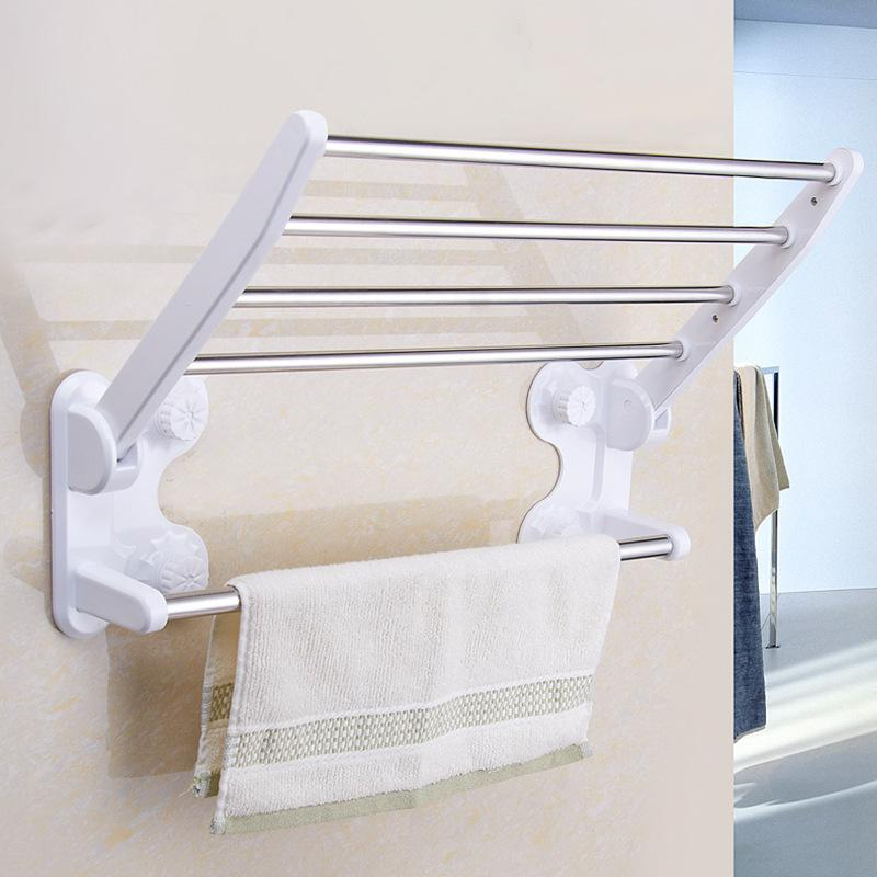 Toilet Double Folding Wall Suction Towel Racks Hotel Bathroom ...