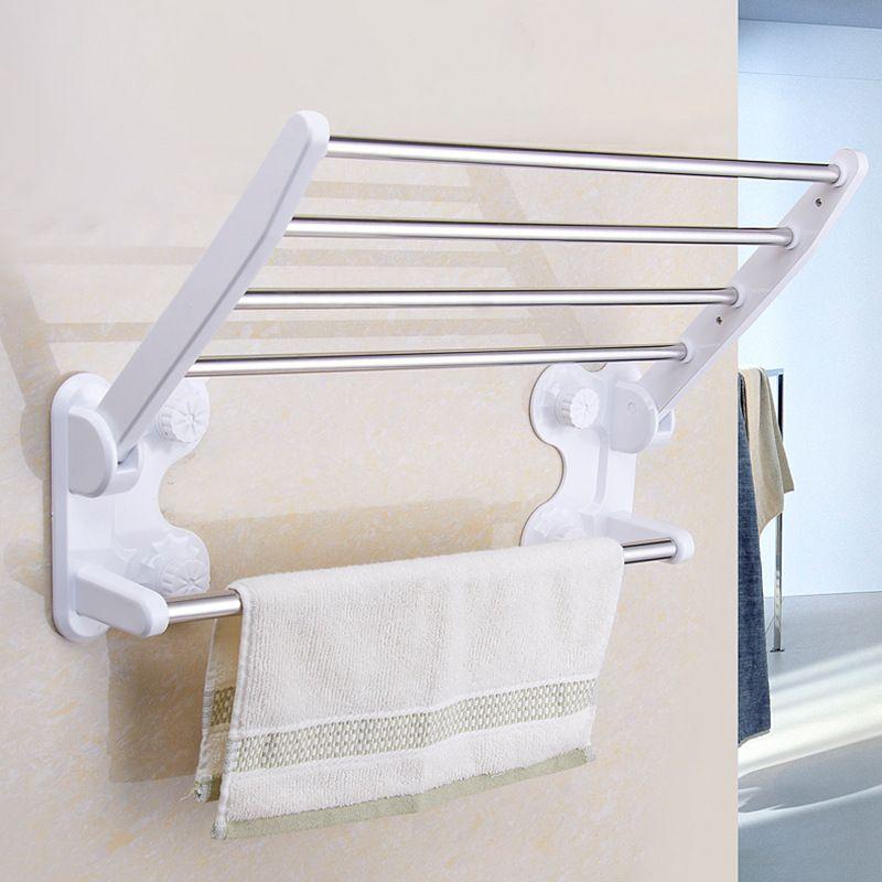 Toilet Double Folding Wall Suction Towel Racks Hotel Bathroom Towel ...