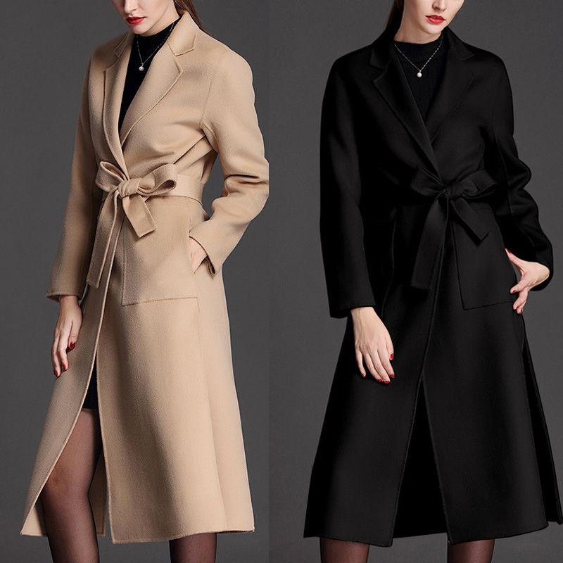 the latest 0bc4e 01139 x-lungo nero cappotto invernale donne cammello 2018 di alta qualità signore  cashmere cappotti di lana capispalla lana cappotti lunghi