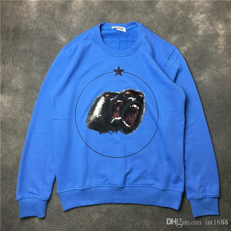 2017 hot sell Fashion brand men Hoodies Casual sports Long sleeve sweatshirt men blue angry monkey printing pullover coat jacket