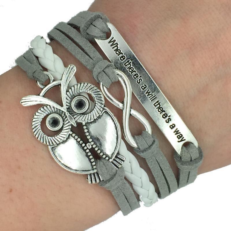DIY Owl Charm Jewelry fashion Leather Cute Bracelets Silver pick style Leather Bracelets woven bracelet hand rope bracelet jewelry